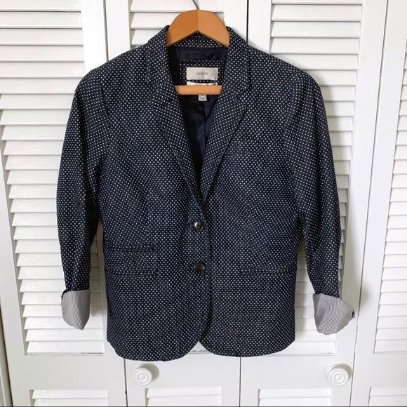 J. Crew Jackets & Blazers - J.Crew School Boy Navy Polka Dot Blazer size 4
